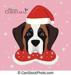 Christmas greeting card. Saint Bernard dog with red Santa's...