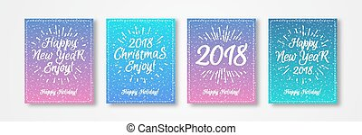 Christmas greeting card set with white emblem consisting sign Merry Christmas 2018