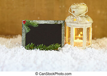 Christmas greeting card with snow, lantern and signboard
