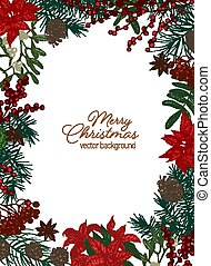 Christmas greeting card template with festive wish inside border made of coniferous branches and cones, poinsettia and mistletoe berries and leaves on white background. Holiday vector illustration.