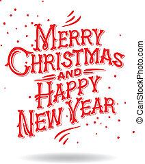 Christmas Greeting Card, vector Eps 8 illustration - Merry...
