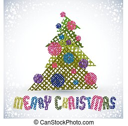 Christmas greeting card, vector, Merry Christmas lettering.
