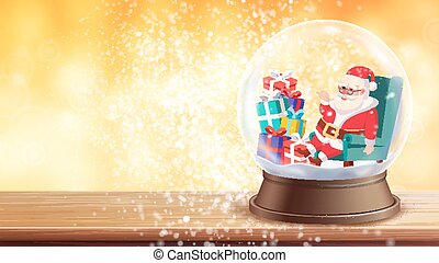 Christmas Greeting Card Vector. Snow Globe, Santa Claus, Gifts. Winter Xmas Design Element. New Year Design Template Illustration