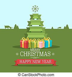 Christmas Greeting Card. Vector Xmas Illustration.