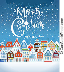 Christmas greeting card. Vintage buildings with snowfall -...