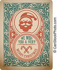 Christmas greeting card. vintage ornament decoration with Merry Christmas holidays.