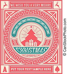 Christmas Greeting Card. vintage ornament decoration with Merry Christmas holidays. Vector layered