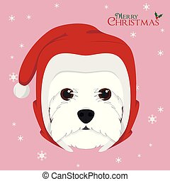 Christmas greeting card. West Highland White Terrier dog with red Santa's hat