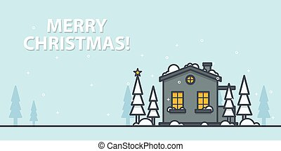 Christmas greeting card. Winter landscape with house on a blue background. Outline vector illustration.