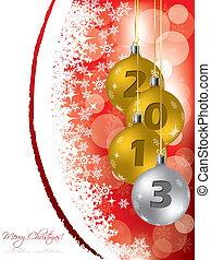 Christmas greeting card with 2013 decorations