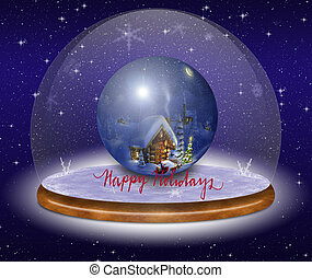 Christmas greeting card with a beautiful ball.