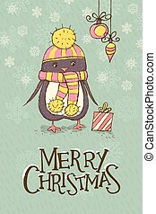 Christmas greeting card with a cute penguin