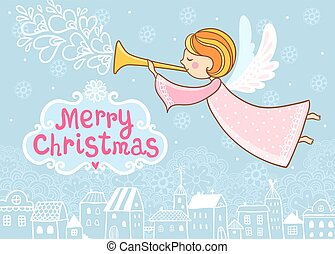 Christmas greeting card with a flying angel. Vector...
