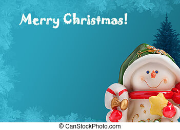 Christmas greeting card with a snowman, a xmas tree and ice frost