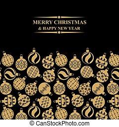 Christmas greeting card with balls