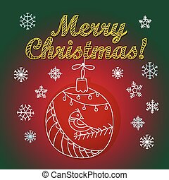 Christmas greeting card with bauble