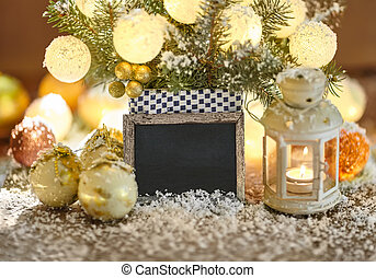 Christmas greeting card with baubles, lantern and signboard