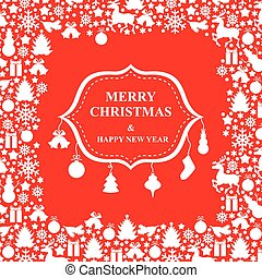 Christmas greeting card with baubles