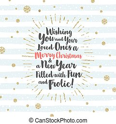 Christmas greeting card with calligraphic type design, glitter gold  sunburst and snowflakes