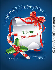 christmas greeting card with caramel cane bow and holly...
