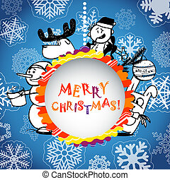 Christmas greeting card with Christmas persons