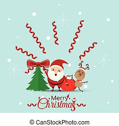 Christmas Greeting Card with Christmas Santa Claus and Reindeer. Vector illustration