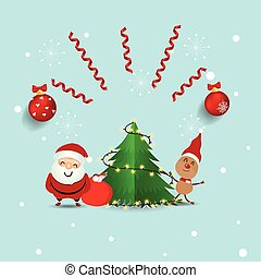 Christmas Greeting Card with Christmas Santa Claus ,reindeer and christmas tree. Vector illustration