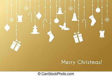 Christmas greeting card with christmas toys