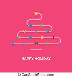 Christmas greeting card with christmas tree and sign Merry Christmas