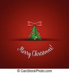 Christmas Greeting Card with Christmas tree illustration