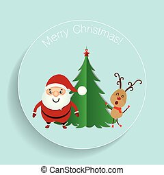 Christmas Greeting Card with Christmas tree, Santa Claus and reindeer. Vector illustration.