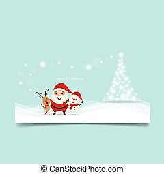 Christmas Greeting Card with Christmas tree, Santa Claus ,Snowman and reindeer. Vector illustration.