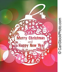 Christmas greeting card with christmas ball