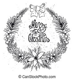 Christmas greeting card with citrus, spice. Black - ...