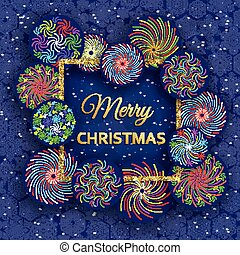Christmas greeting card with colorful fireworks. Vector illustration