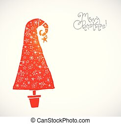Christmas greeting card with coral red christmas tree decorated with stars on white background.