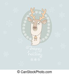 Christmas greeting card with cute deer and snowflakes.