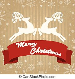 Christmas greeting card with deer and ribbon