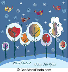 Christmas greeting card with fantasy forest