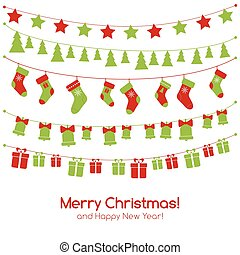Christmas greeting card with festive garlands