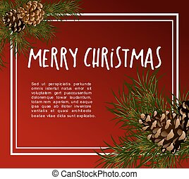 Christmas greeting-card with fir-tree - Christmas greeting...