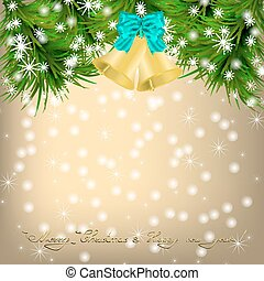 Christmas Greeting card with fir twigs and jingle bells