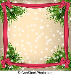 Christmas Greeting card with fir twigs and ribbons
