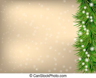 Christmas Greeting card with fir twigs and snowflakes