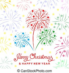 Christmas greeting card with firework