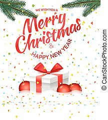 Christmas greeting card with gift box and red baubles. Merry Christmas and Happy New Year