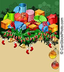 Christmas greeting card with gift boxes and santa socks