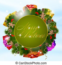 Christmas greeting card with gift boxes
