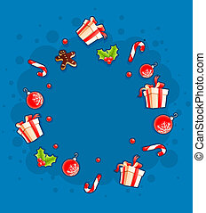 Christmas greeting card with gifts and sweets by cloud.