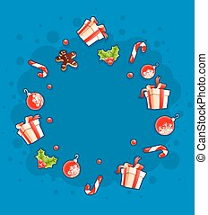 Christmas greeting card with gifts and sweets by cloud